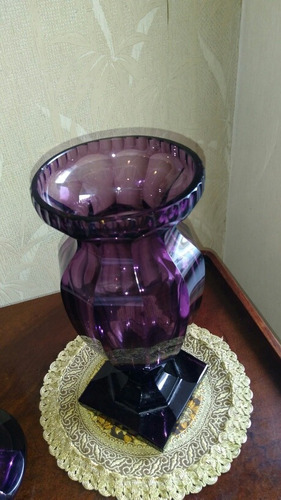 extraordinario antiguo potiche 40 cm cristal europeo c 1930