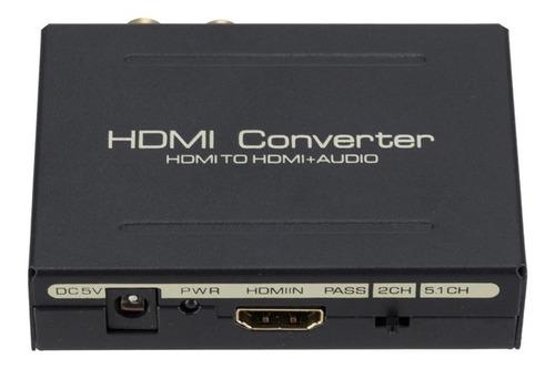 extrator de áudio hdmi p/ hdmi + spdif óptico + rca auxiliar