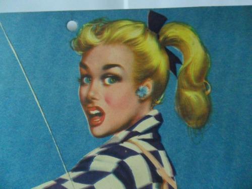 f musca dibujo mujer rubia pesca antigua lamina publicidad
