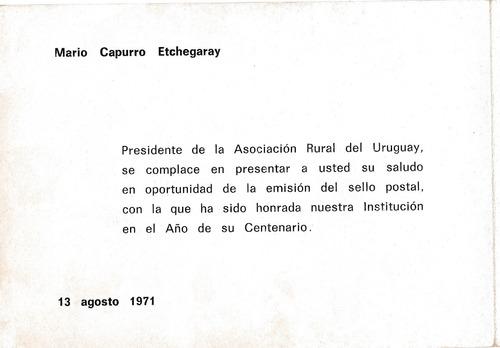 f- postal filatelica 1971 - asociacion rural del uruguay