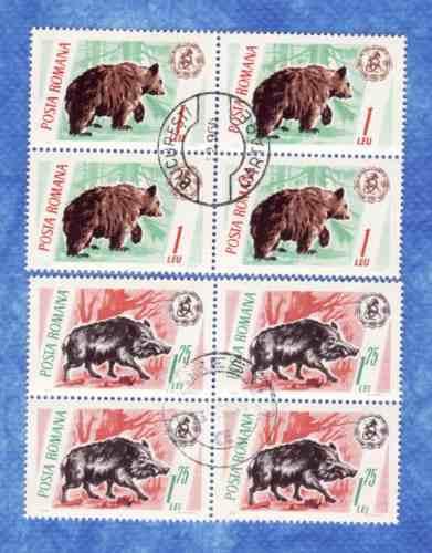 f- rumania - 8 sellos ** oso y jabali