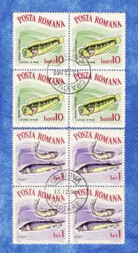 f- rumania - 8 sellos ** peces