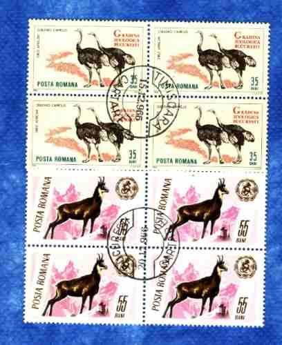 f- rumania - 8 sellos ** rebeco y avestruz