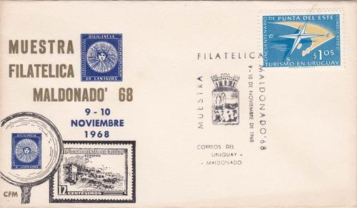 f- sobre primer dia 1968 - muestra filatelica maldonado