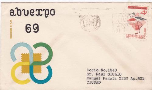 f- sobre primer dia 1970 - abuexpo 69 - sello tero real