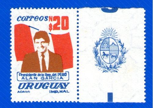 f- uruguay - # 1216 label alan garcia pte del peru n$ 20