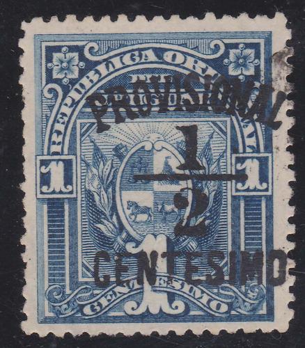 f- uruguay - 1898 - ½ centesimo provisional # 135c corrida