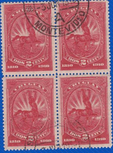 f- uruguay 1910 - 4 sellos - sc# 182 cuadro