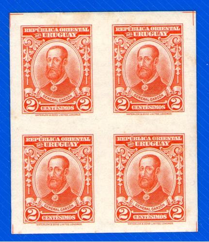 f- uruguay 1928 - cuadro sin perforar 2 centesimos garzon