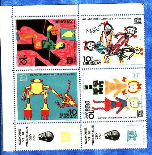 f- uruguay 1970 - cuadro + label mnh - unesco