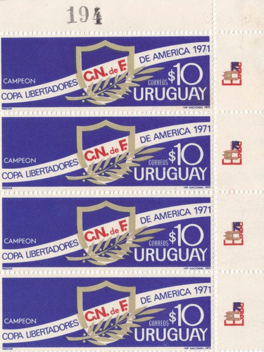 f- uruguay 1971 - 4 sellos - sc# 810 cuadro nacional