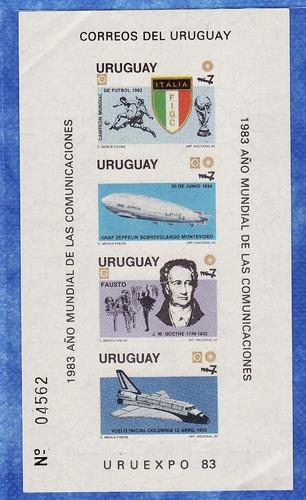 f- uruguay 1983 -n$ 2900 comunicaciones souvenir x 4