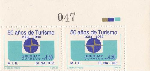 f- uruguay 1984 - n$ 4.50 turismo x 2 sin uso