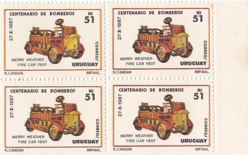 f- uruguay 1988 - # 1265 cuadro centenario de bomberos