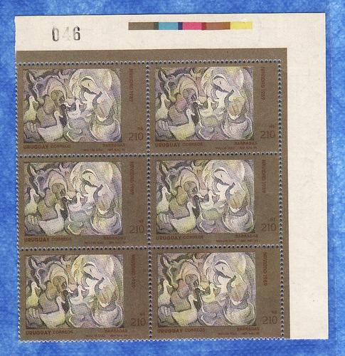 f- uruguay 1989 - 210 n$ - barradas - block x 6