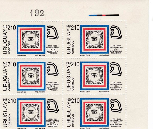 f- uruguay 1989 - 210 n$ ojo block x 6