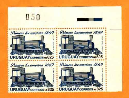 f- uruguay 1991 - n$ 825 - primera locomotora - block x 4