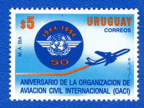 f- uruguay 1995 - aviacion civil internacional-  scott #1574