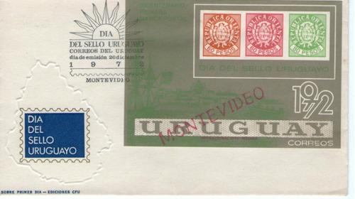f- uruguay-sobre del primer dia - dia del sello 1972