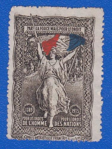 f- uruguay - viñeta 1915 c de las damas francesas montevideo