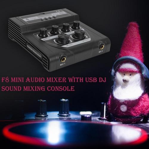 f8 mini mezclador de audio con usb dj consola de mezcla de s