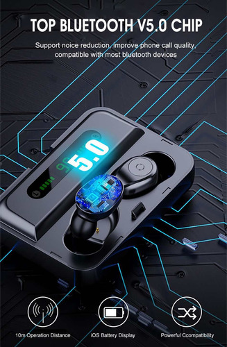 f9 tws bluetooth 5.0 graphene earphone stereo digital displa