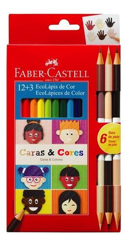 faber castell lápices de color caras y colores x12 + 6 piel