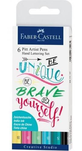 faber conjunto pitt hand lettering 6 canetas tons pastel