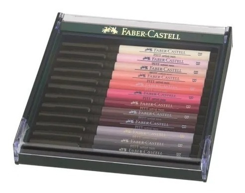 faber estojo caneta pincel nanquim pitt 12 tons de pele