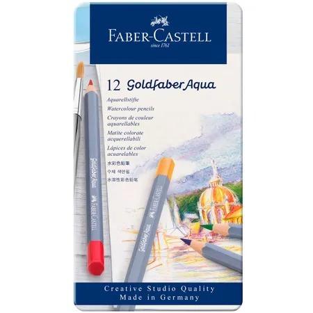 faber estojo metal goldfaber aqua 12 cores aquarelaveis