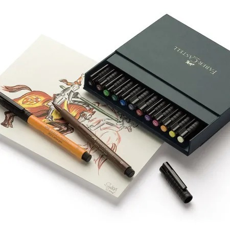 faber gift box estojo caneta pincel nankin pitt 24 cores