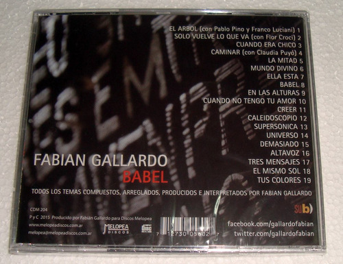 fabian gallardo babel cd sellado / kktus
