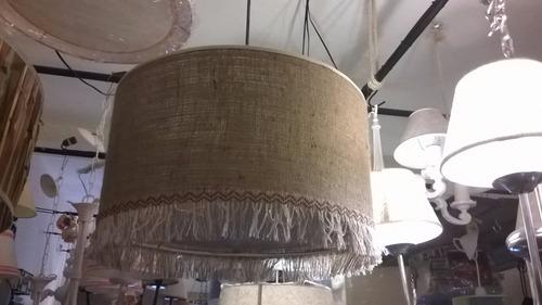 fabrica artesanal pantallas,colgante techo arpillera,flecos