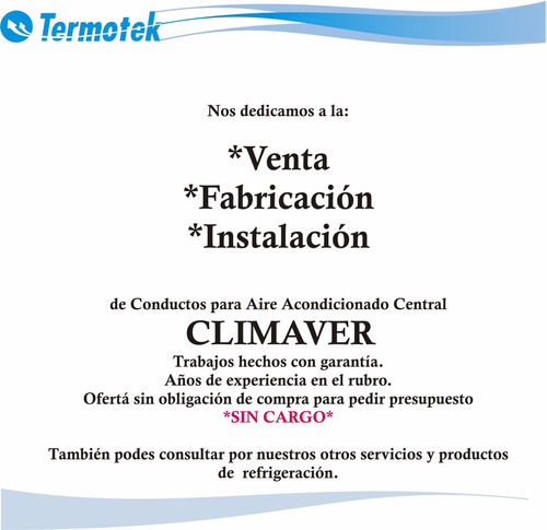 fabrica de conductos aire acondicionado climaver central