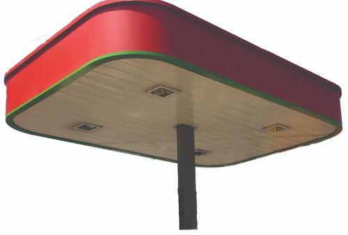 fabricación, montaje de techos canopy , tótem y cimientos