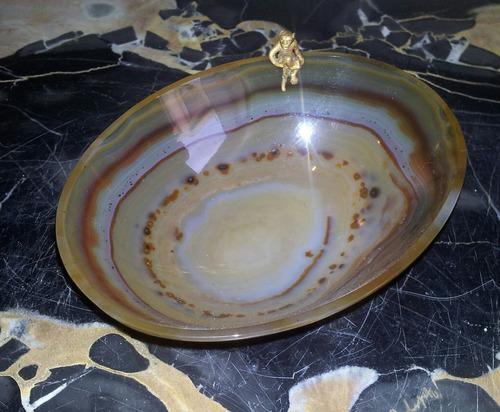 fabuloso agata y oro macizo joyero - despojador trab orfebre