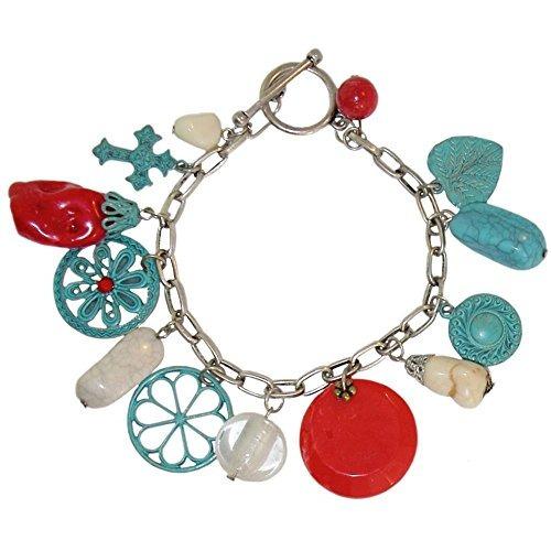 ¡fabuloso! imitación de turquesa, coral, ónix y encantos es