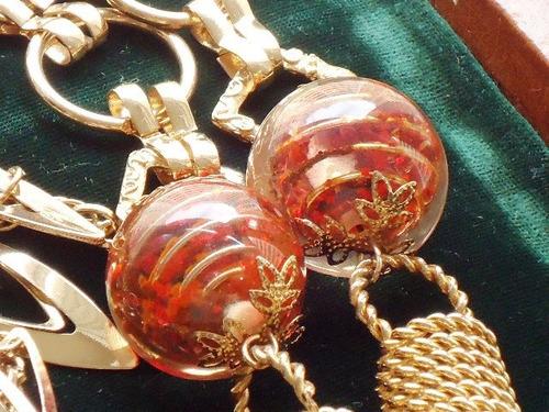 fabuloso,lindo colar vintage banho18k/acrílicos,itália,déc70