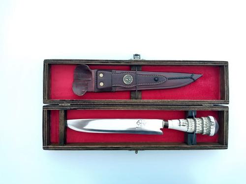 faca artesanal aço  1070 + gravação + estojo madeira