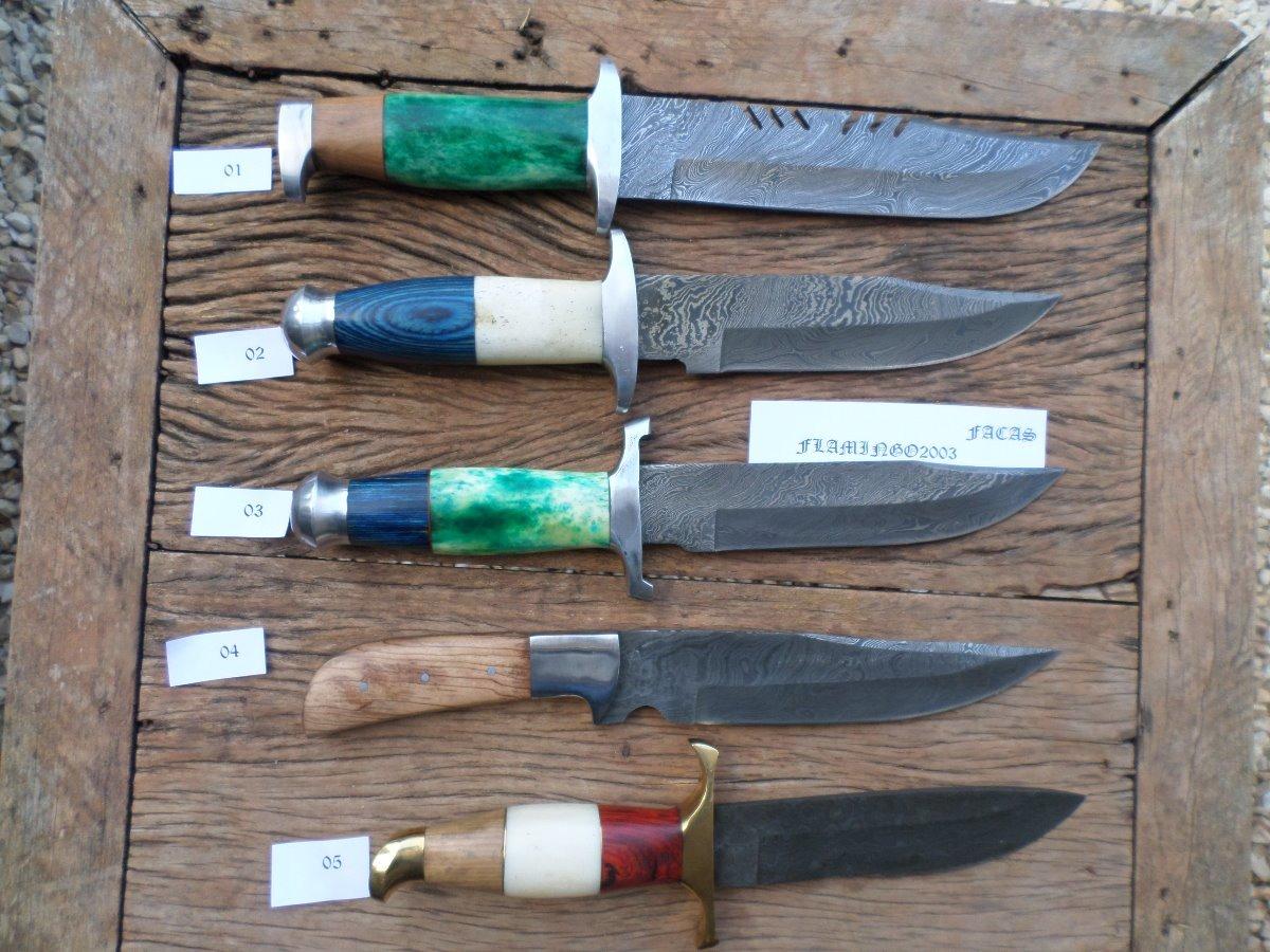 fb91fd8f0039c Faca Artesanal Aço Damasco Varios Tipos Preço De Cada Uma - R  5.549 ...