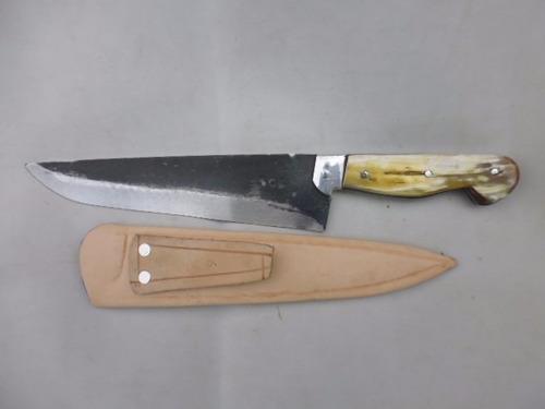 faca  artesanal de disco de arado cabo chifre 8 polegadas