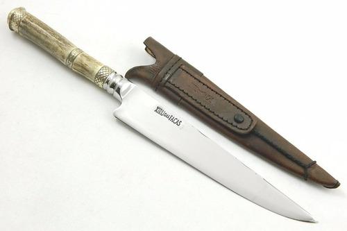 faca artesanal forjada, cutelaria gaúcha cabo cervo - 8 pol