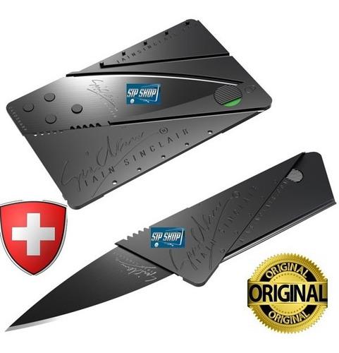 faca cartão canivete tático cardsharp na caixa