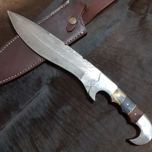 faca de caça artesanal em aço damasco df 5481
