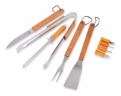 faca do chef 09 tábua grande madeira nobre +  kit churrasco