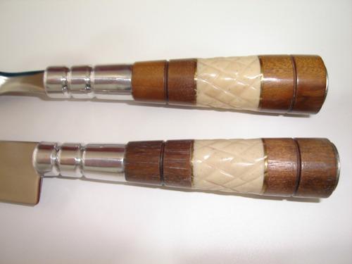 faca e garfo gaúcho cascavel inox 5p. madeira e osso trabalh