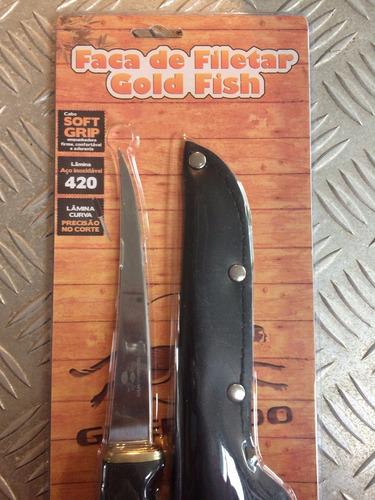 faca fileteira gold fish afiada com bainha guepardo