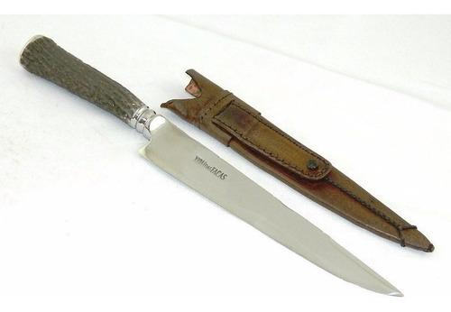 faca forjada churrasco cabo cervo aço cirurgico 8 polegadas