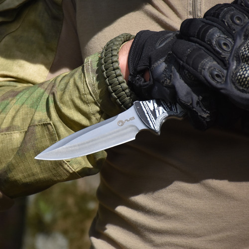 faca full tang caça coldre camuflado branco avb cbw-1613