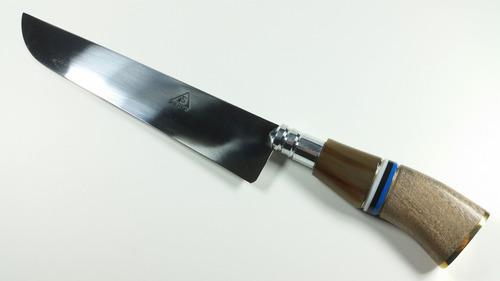 faca gaúcha churrasco aço cirurgico cabo tricolor urutu 9p